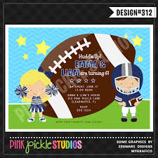 football player u0026 cheerleader personalized party invitation