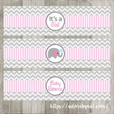 pink elephant water bottle labels for baby adore by nat