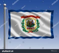 Virginia Flags West Virginia Flag Pole On Blue Stock Illustration 253415812