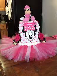 mini mouse carriage diaper cake that i custom made on my own using