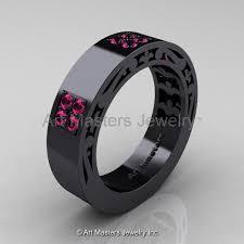 black and pink wedding rings mens modern vintage 14k black gold pink sapphire wedding band