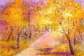 Paint Colorful - oil painting landscape colorful autumn trees semi abstract
