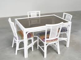 Outdoor Rattan Dining Chairs White Rattan Dining Set With Four Chairs In Missoni Fabric For