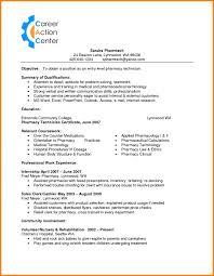 entry level pharmacy technician resume objective resume template