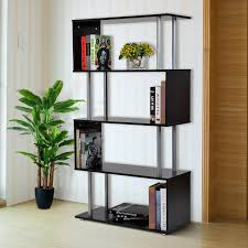 homcom 4 tires wooden bookcase s shape storage display unit home