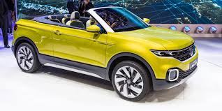 yellow volkswagen convertible t cross breeze concept convertible baby suv unveiled