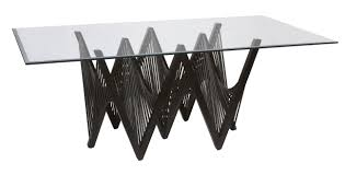 Glass Table Pedestal Rectangle Glass Top Table With C Shapes Black Wooden Legs Like Zig