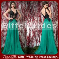 unique color combination evening dress with black and hunter
