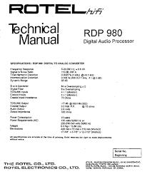rotel rdp 980 service manual parts catalog circuit diagram