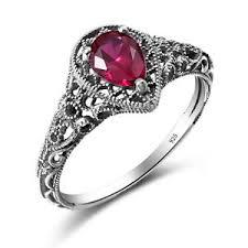 july birthstone 2 2ct ruby rings 925 sterling silver vintage