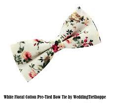 floral bowtie mens white floral bowtie wedding cotton pocket square bow tie