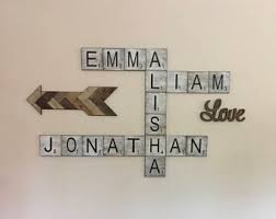 Metal Wall Letters Home Decor Scrabble Wall Art Etsy