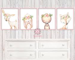 4 deer fox bunny rabbit bear woodland boho wall art print nursery