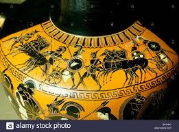 Greek Black Figure Vase Painting War Chariot And Hoplites Greek Black Figure Vase Painting Greece