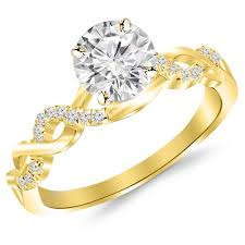 engagement rings yellow gold 2 carat classic prong set diamond engagement ring with a 1 5 carat