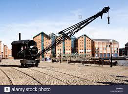 steam crane at gloucester docks gloucester uk stock photo