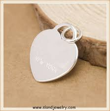 Sterling Silver Engravable Jewelry Wholesale Engravable Jewelry Blanks Personalized Heart Peach Shape