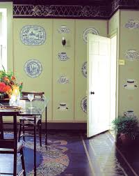 the blue and white dining room at stocksfield hall the stencilled