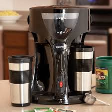 travel coffee maker images Dual coffee maker with two travel mugs from sporty 39 s pilot shop jpg