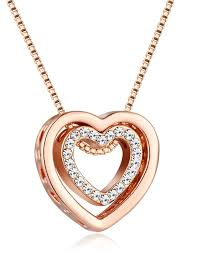 rose coloured necklace images Rose gold heart necklace amazon co uk jpg