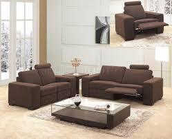 Reclining Living Room Sets Microfiber Fabric Modern 3pc Living Room Set 0918 Brown