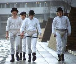 the droogs from a clockwork orange the clothing looks way too