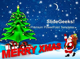merry christmas with santa claus holidays powerpoint templates ppt