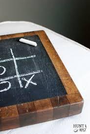 tic tac toe chalkboard butcher block hunt and host