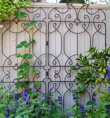 ornamental trellis against painted fence or wall what a great