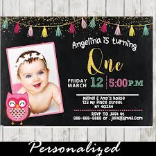 pink owl 1st birthday party photo invitation chalkboard d7