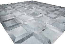 Patchwork Cowhide Rug Gray Leather Area Rug Cube Design In 4x4ft Shine Rugs