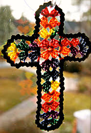 small lace cross crocheted ornament or bookmark heritage