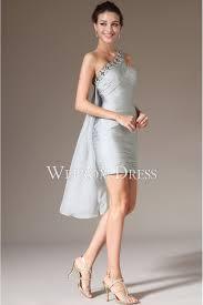 shoulder rhinestone pleated silver color unique evening dress uk