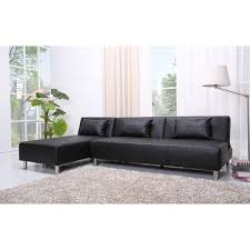 Leather Sofa Atlanta Atlanta Black Faux Leather Convertible Sectional Sofa Bed Free