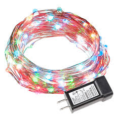 33ft multi colored copper wire string lights ul listed le