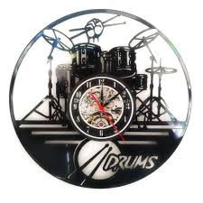 classic guitar drums music set vinyl wall clock home decor gifts