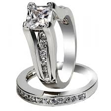stainless steel wedding ring sets women s aaa cubic zirconia princess cut 316l stainless steel