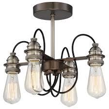 4 Light Semi Flush Ceiling Fixture by Minka Lavery Uptown Edison 4 Light Harvard Court Bronze Semi Flush