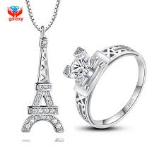 sterling silver rings necklace images Yhamni classic eiffel tower design 925 sterling silver jewelry set jpg