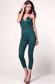 green jumpsuit green strapless v neck jumpsuit rompers and jumpsuits for