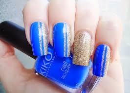 blue and gold glitter nail art silvialacenails silvia lace
