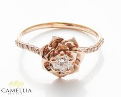 flower engagement rings 14k gold diamond engagement ring by camellia jewelry