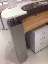 Small Salon Reception Desk New Design Hot Sale Hotel Grey Salon Nails Mercial Curved