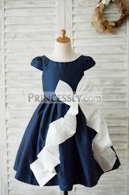 navy blue taffeta cap sleeves wedding flower dress with bow
