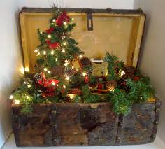 antique christmas trunk with christmas tree and lights cute