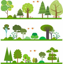 nature background sets green trees decoration design