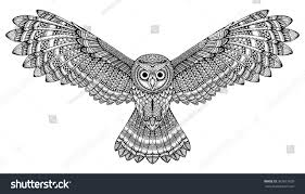 Patterned Flying Owl Drawing Illustration Vector Flying Owl Black Stock Vector 2018 367817609