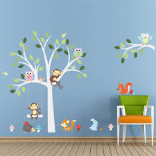 aliexpress com buy animal monkey owl swing tree wall sticker for aliexpress com buy animal monkey owl swing tree wall sticker for kid baby children room home decorations pvc removable wall decal zoo wall stickers from