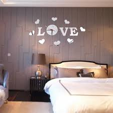 new creative diy romantic acrylic mirror effect love letter decal mirror wall stickers kit pcs clock movement foam double sided adhesive block piece