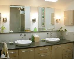 beige bathroom wall painted feat twin frameless mirror over wood